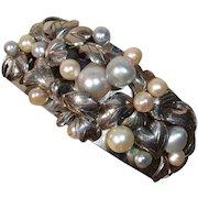 """INCREDIBLE Large Akoya Pearl """"Berries & Leaves"""" Sterling WIDE Cuff Vintage Bracelet !"""