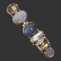 """LARGE 3.25"""" Modernist Citrine, Labradorite, Pearl & Moonstone Vintage Sterling Silver Pendant !"""