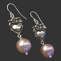 "Beautiful Pink Cultured Pearls & Vintage Sterling Floral Hearts 1.95"" Dangle Earrings"