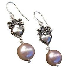 "Beautiful Pink Cultured Pearls & Vintage Sterling Floral Hearts 1.95"" Dangle Earrings"