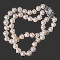 Gorgeous 2-Strand Akoya Pearl Japanese Sterling Bracelet - Vintage 1950 - 1960