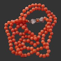 """FABULOUS 22"""" Red / Salmon Coral Beads, .835 Coin Silver Antique Necklace !"""