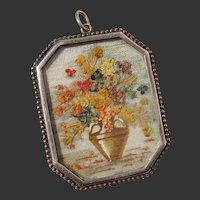 Amazing Rare Dried Flowers in Vase Work of Art Sterling Pendant - Antique Edwardian Germany OOAK