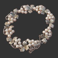 Gorgeous Akoya Pearl Grapes & Leaves Japanese Sterling Bracelet, Vintage 1960's