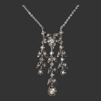 Delicate Belle Epoque White Diamond Paste Antique Victorian Silver Necklace -circa 1880's