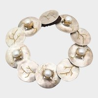 Fabulous Unusual Artist Made Sterling Silver Pearl Disks Vintage Bracelet with Karat Gold Accents, Hand Made OOAK