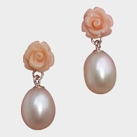 """Gorgeous Carved Coral Roses, Large 12x9mm Cultured Pearls & Sterling Silver Pierced / Post .95"""" Earrings"""