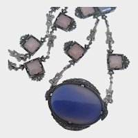 """FABULOUS Art Deco Natural Chalcedony Sterling Silver & Marcasite 16"""" Necklace !"""