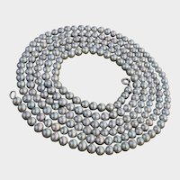 """Gorgeous GREY Cultured Pearls LOOONG 46.5""""  Sterling Silver Clasp Vintage Necklace !"""