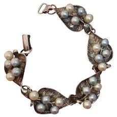Gorgeous Signed Ming's of Honolulu Blue & White Akoya Pearls Sterling Leaves Bracelet, Vintage 1970's