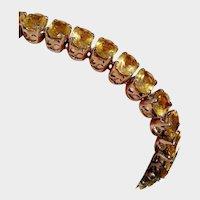 DAZZLING Large Golden Citrine Gemstones Sterling Vintage Tennis Bracelet - 33 BIG 7x5mm Gems, Safety Clasp !