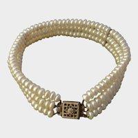 Lovely 3-Strand Akoya Pearls & Diamond Gold Vermeil Sterling Bracelet, Vintage 1970's