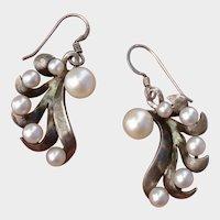 Japanese Akoya Pearl Swirls Sterling Silver PIERCED Dangle Earrings - Vintage 1960's
