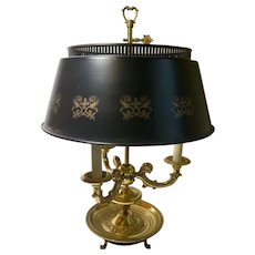 French Style Brass Bouillotte Desk Lamp With Tole Shade