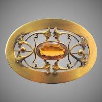 Large Art Nouveau Gilt Metal Topaz Glass Sash Buckle GLP Co George L Paine