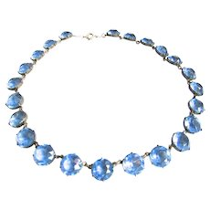 Art Deco Sterling Silver Sapphire Blue Crystal Necklace Open Back Collet Riviere
