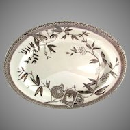 """Wedgwood Aesthetic Brown Transferware 18"""" Platter Louise Swallow Sailing Ship Staffordshire England"""