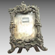 Antique Dollhouse Miniature Silver Plate Picture Frame with Easel Photo