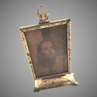 Antique Dollhouse Miniature Gilt Metal Standing Picture Frame Screen Shot Starlet Photo Art Deco