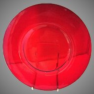 Rare Carmen Red Cambridge Elegant Glass Luncheon Plates Lunch 8 Inch Set Of Eight