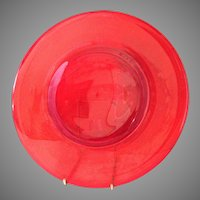 Rare Carmen Red Elegant Glass 10 inch Dinner plates set of 12 Mint