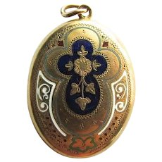 14K Gold Victorian Enamel Mourning Locket Pendant