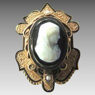 14K Rose Gold Taille d'Epargne Cameo Slide Seed Pearl Sardonyx Large 1800's