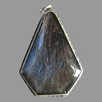 Art Deco Large Butterfly Wing Pendant Sterling Silver