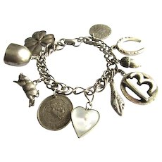 Vintage Silver Tone Coro Lucky Charm Bracelet