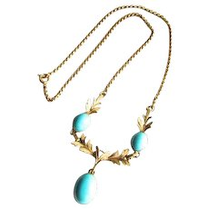 Edwardian Turquoise Glass Cabochon Lavalier Necklace Gold Filled Leaves