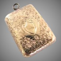 Early Victorian Rose Gold Chased Forget Me Not Locket 1860 Mourning Puffy Keepsake Memento