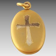 Gorgeous Gold Filled Oval Religious Cross Locket Crucifix Gold Inlay