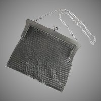 Antique Gun Metal Chain Mail Maille Mesh Purse Evening Bag