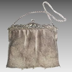 Antique Silver Repousse Chain Mail Maille Mesh Purse Evening Bag Roses