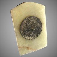 French Saint Anthony Religious Medal Plaque Onyx Marble