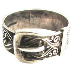 Victorian Repousse Buckle Ring Sterling Silver PR & B
