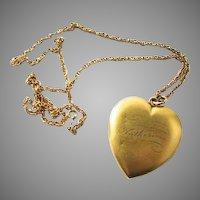 Huge Victorian Gold Filled Heart Locket Katherine Inscribed Name Matte Finish