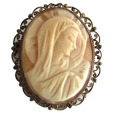 Madonna Blessed Mother Shell Cameo Gold Filled Filigree Religious Brooch Pin