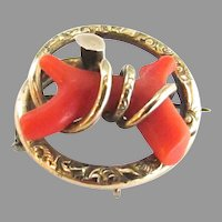 Large Victorian 10K Gold Coral Branch Love Knot Brooch Pin Pendant