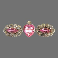 Stunning Pink Paste Victorian Heart Brooch Pin
