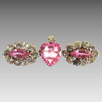 Stunning Pink Paste Victorian Heart Brooch Pin