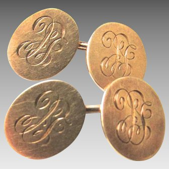 14K Solid Gold Edwardian Monogram LC Cuff Links