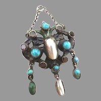 Superb Austro Hungarian Silver Enamel Turquoise Pearl Garnet Pendant Chatelaine
