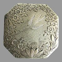 800  Silver Etched Powder Compact Swallow Envelope Floral Decoration