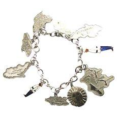 Vintage Sterling Silver Enamel Virgin Islands Charm Bracelet