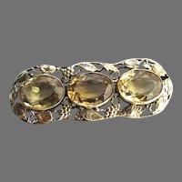 Arts Crafts Sterling Silver Citrine Bar Pin Brooch Large