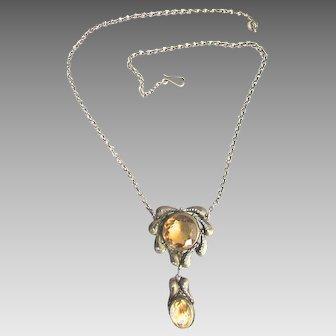 Silver Citrine Filigree European Necklace Drop Pendant
