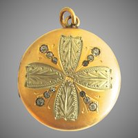 Stunning Paste Gold Filled Clover Photo Locket Pendant