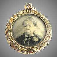 Victorian Mourning Locket Photo Tin Type Woman Chased Frame Glass