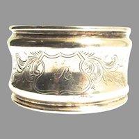 Victorian Silver Napkin Ring Monogram R